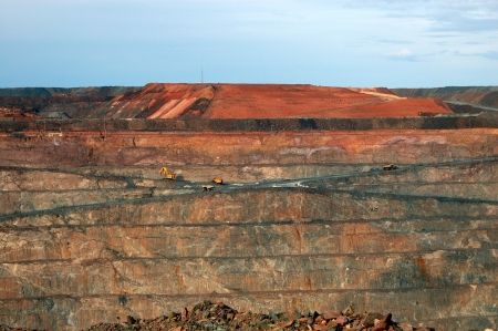 Trucks in Super Pit gold mine, Kalgoorlie, Western Australia