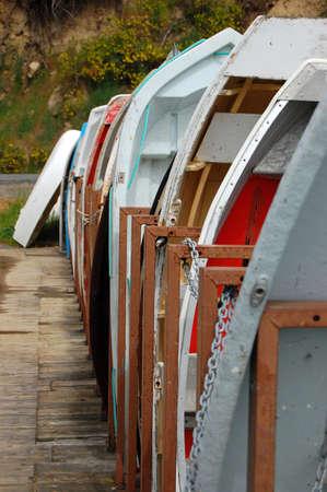 shallop: Boats on the pier, Banks Peninsula, New Zealand