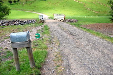 Private mailbox in farm, Banks Peninsula, New Zealand
