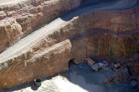 open pit: Gold mine open pit bottom,Cobar, Australia Stock Photo