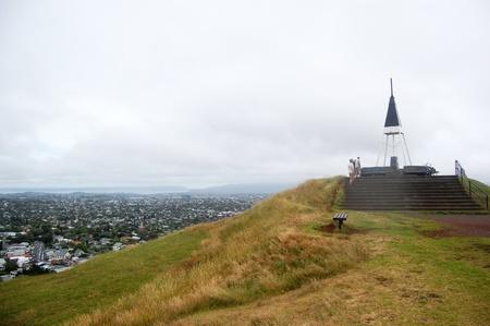 triangulation: Triangulation station city view from Mount Eden, Auckland, New Zealand Stock Photo