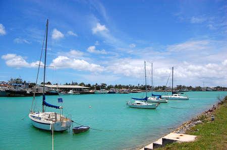 Yachts at marina, Kingdom of Tonga Stock Photo