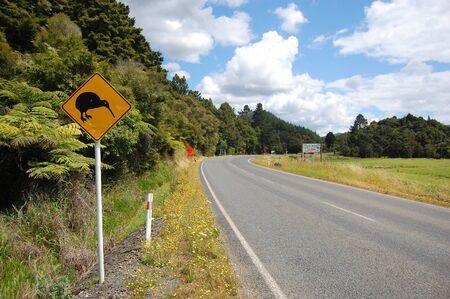 Yellow kiwi bird road sign at roadside, New Zealand Stock Photo