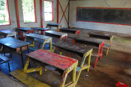 School desks at class primary school, Papua New Guinea