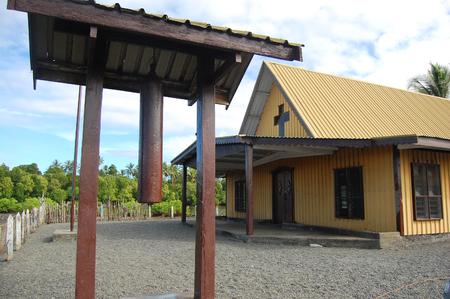 Nuova Guinea: Chiesa cristiana al villaggio, Papua Nuova Guinea Archivio Fotografico