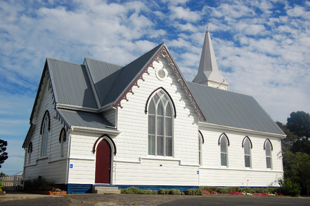 White timber church building, Dargaville town, New Zealand Stock Photo