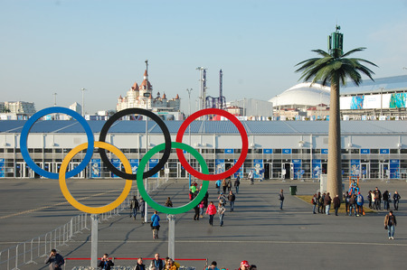 olympic rings: Olympic rings near entrance to park at Sochi 2014 XXII Winter Olympic Games, Russia