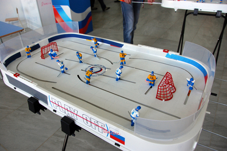 snakes and ladders: Ice hockey board game at Russian Olympic Team fans house XXII Winter Olympic Games Sochi 2014, Russia Editorial