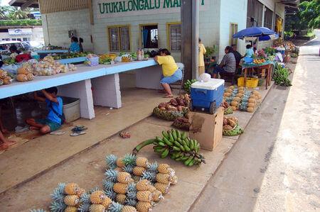 Town fruit market in Tonga Editorial