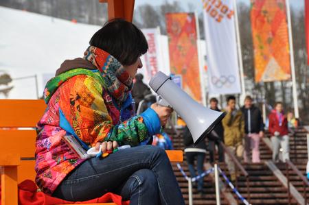 speaking tube: Volunteer at XXII Winter Olympic Games Sochi 2014, Russia