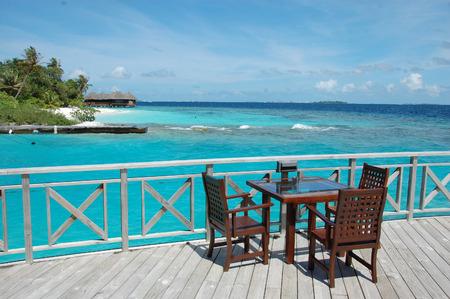 Open air cafe at ocean beach, Bandos Island, Maldives
