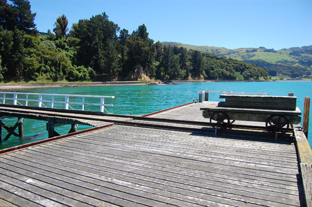trucker: Old vintage trolley at timber pier, New Zealand