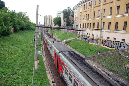 commuter train: Commuter train at city railway line, Moscow, Russia