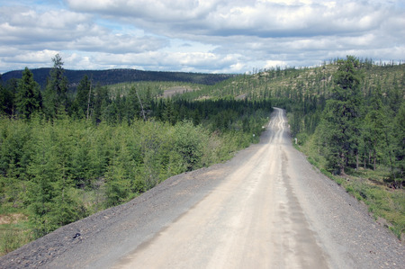 the outback: Gravel road Kolyma state highway outback, Russia
