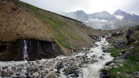 greater: River at Greater Caucasus Mountain Range, North Osetia, Russia