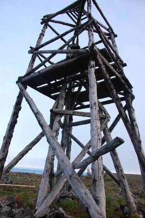 triangulation: Timber triangulation tower at tundra, Chersky region, Yakutia, Russia