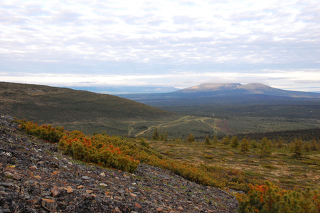geological feature: Mountain at tundra area, Kolyma region, Yakutia, Russia Stock Photo