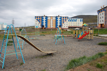 Playground at Arctic town area, Pevek, Chukotka, Russia Stock Photo