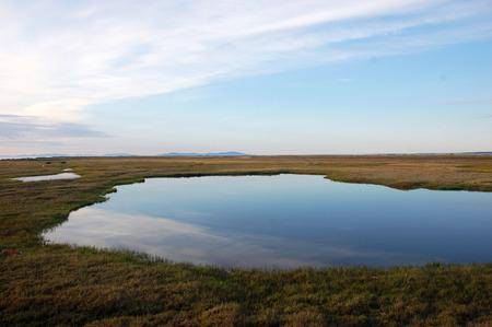 Tundra lake at arctic Island Chukotka, Chenkul Island, Chukotka, Russia Stock Photo