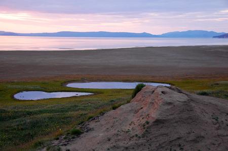 Lakes at arctic tundra coast, Routan Island, Chukotka, Russia