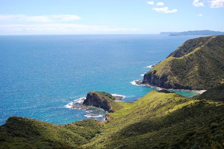 north island: Cliff ocean coast at Cape Reinga, Northland, North Island, New Zealand Stock Photo