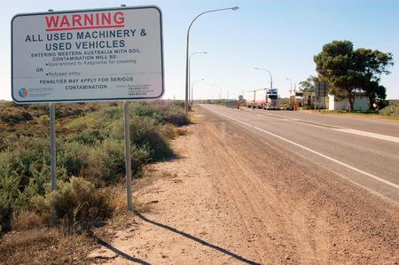 Warning information sign at Kalgoorlie, Western Australia Stock Photo