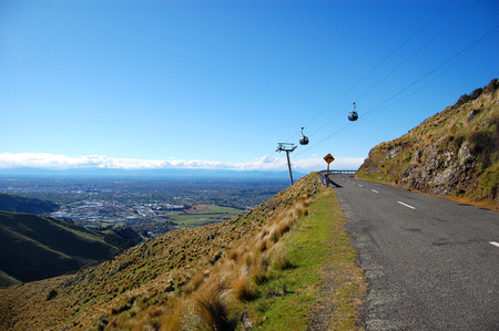 Cable railway over road turns right town view, Christchurch, Canterbury Region, South Island, New Zealand