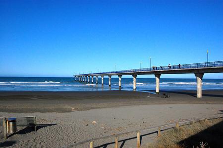 Concrete pier at town New Brighton beach, Canterbury Region, Christchurch, South Island, New Zealand