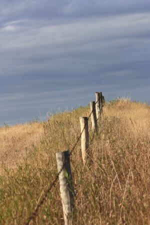 fencepost: barbed wire fence on the prairie Stock Photo