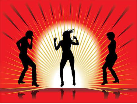 girls having fun: girls having fun and dancing Illustration