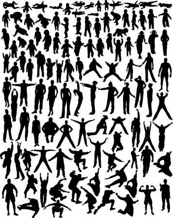mucha gente: muchas personas, ni�os, y siluetas - vector  Vectores