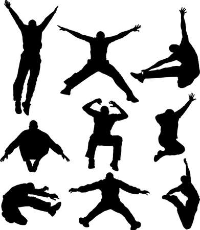 silhouette of young active man jumping and moving