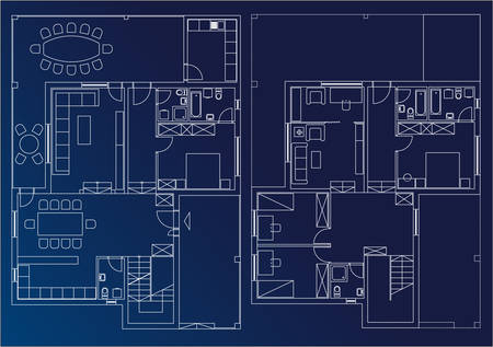 architectural blueprint of home - vector Vector