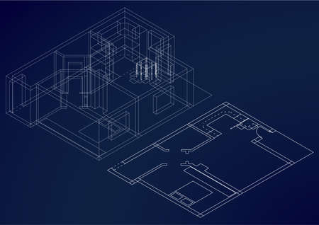perpective: 2D and 3D architectural blueprint plan Illustration