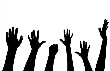 sucess: hands rise up vector Illustration