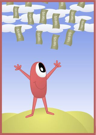 easy money: Conceptual Illustration about being rich for whatever reason like fortune, investments, business, etc