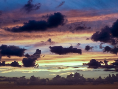 breathtaking: Big breathtaking clouds in a sunset summer day in Uruguay