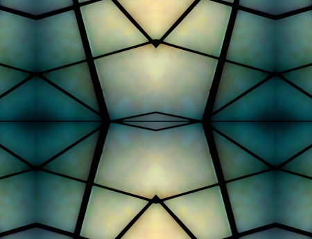 Geometric Space Background in green and pale blue tones. Archivio Fotografico