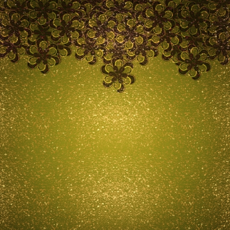 Decorative background composition with flowers in golden tones. photo