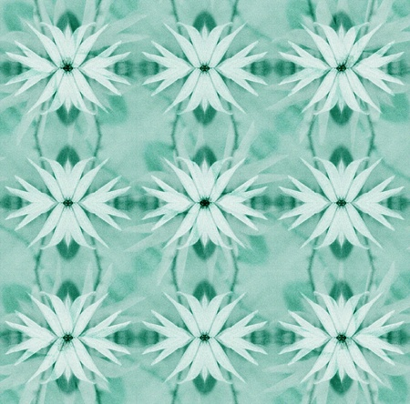 figurative: Figurative digital pattern artwork showing a fantasy flower plant in cold colors.