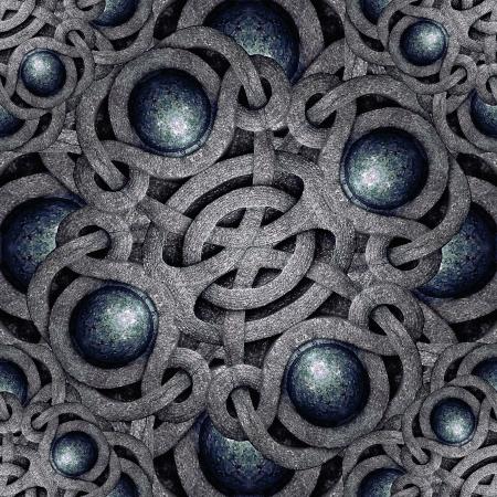 Digital art futuristic geometric abstract composition in blue and gray tones. Archivio Fotografico