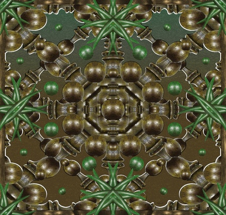 photomanipulation: Digital photomanipulation in green and browns tones depicting a symmetric structure with woods and plants inspired in japanese gardens.