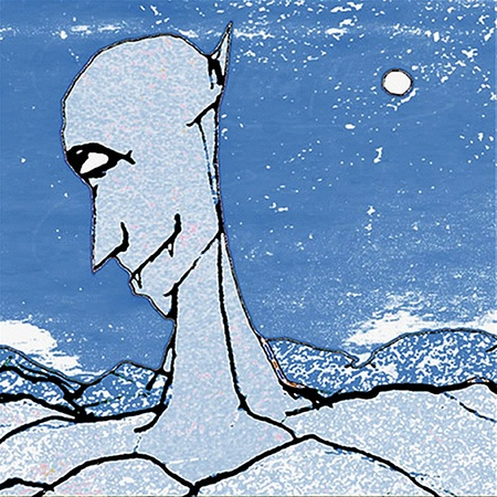 embedded: Hand draw illustration of a devil cartoon man embedded in mountains in a grunge sky.