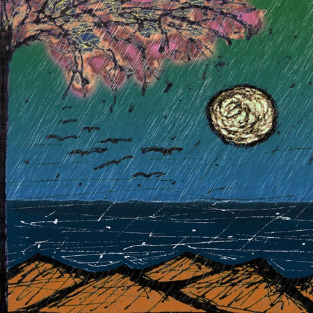 mixedmedia: Mixed media natural landscape showing mountains, sea, moon, part of a big tree and birds flying.