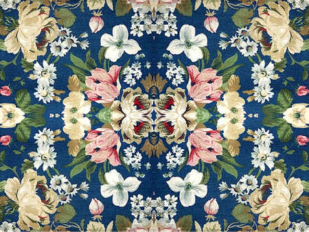 Fabric floral decorative background pattern in multicolored tones against blue background. Stock Photo - 21813227