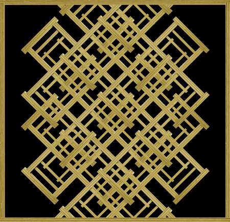 Elegant abstract geometric background in gold and black tones with borders.