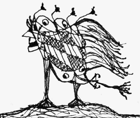 Pencil drawing artwork depicting an strange alien bird animal in black and white tones  Stock Photo