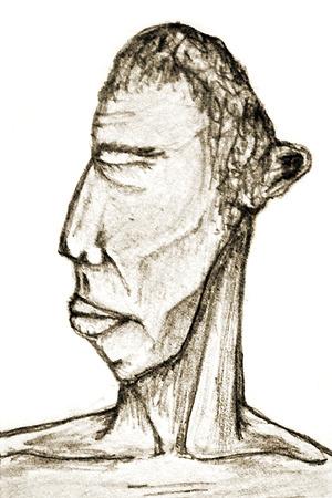 nackte brust: Hand zeichnen Illustration eines Mannes Portrait mit nacktem Oberk�rper und geschlossenen Augen Lizenzfreie Bilder