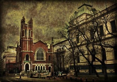 chapel: Digital photo collage grunge style composition of a street of a dark citiy with a chapel and a classic building as the main subject.