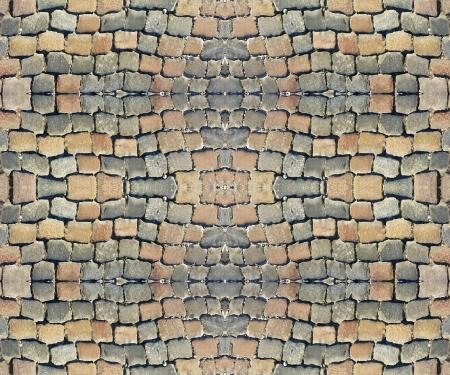 デジタル ・ モックアップ丸石の通りタイル パターンが使用できる有用なテクスチャ、材料または背景として 写真素材